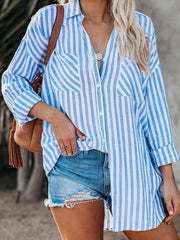 Women's Lapel Long Sleeve Plus Size Stripe Cotton Casual Shirt