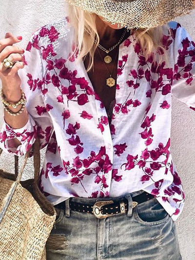 Women Fall Long Sleeves Floral Shirts