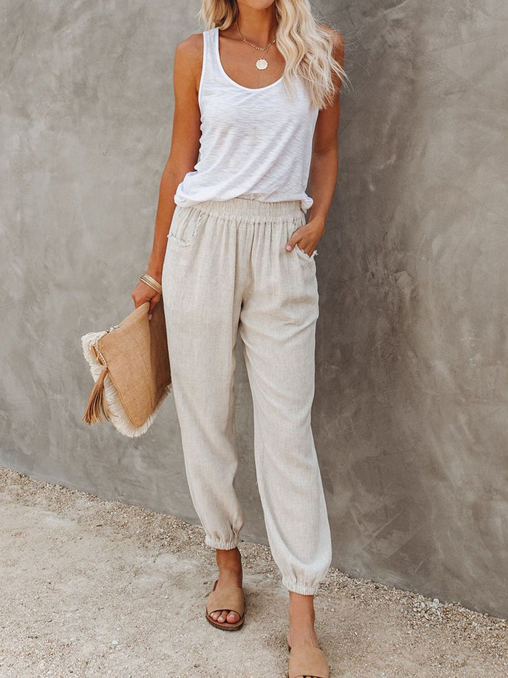Women Pockets Elastic Waist Solid Casual Fall Trousers