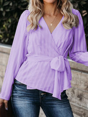 Women's V Neck Long Sleeve Slim Fit Tie belt Solid Color Shirt