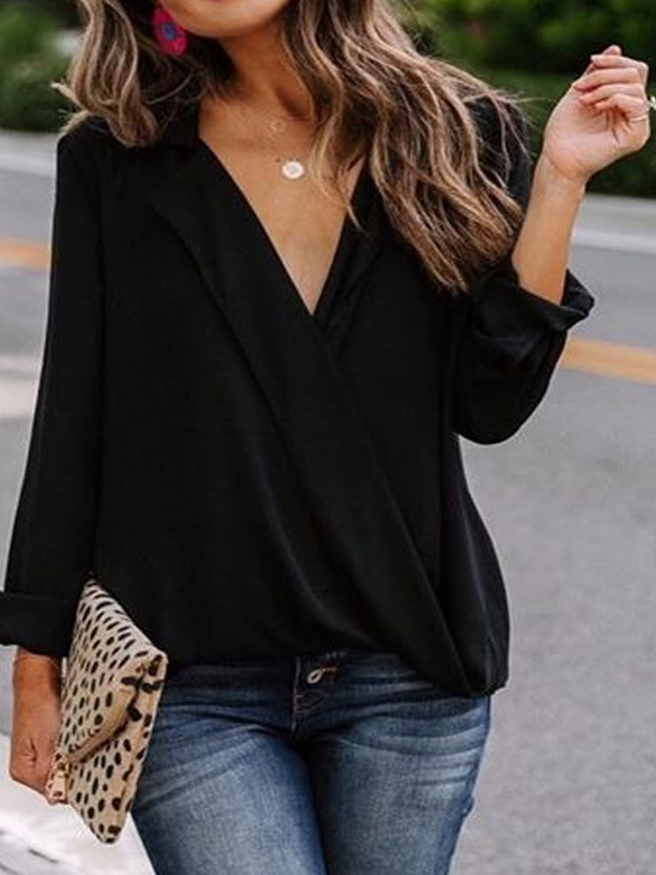 Women's Lapel V Neck Long Sleeve Plus Size Slim Fit Casual Shirt