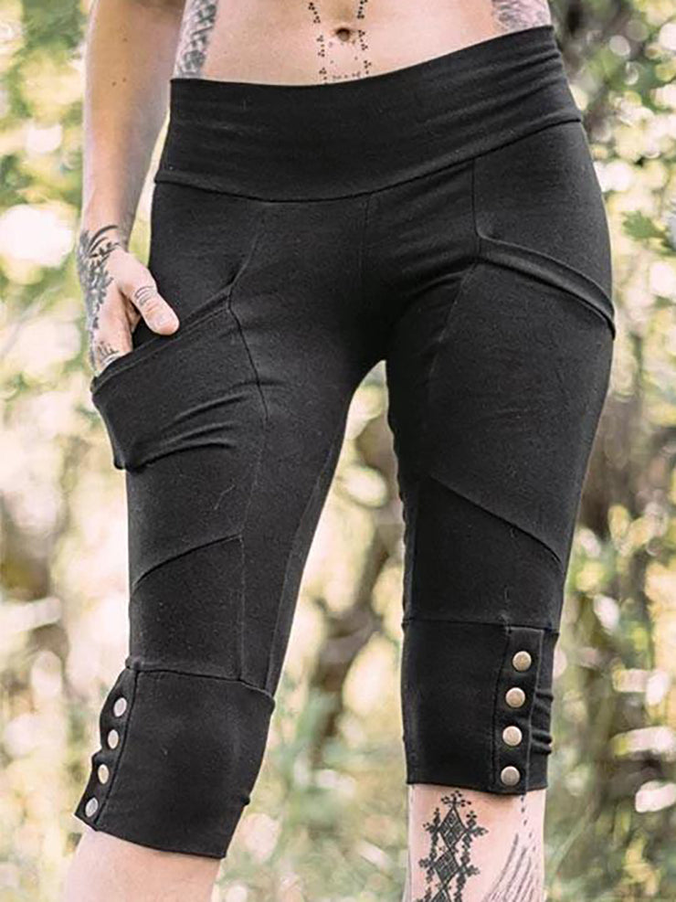 Pockets Buttoned Women Legging Cropped Pants