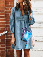 Kitten Cat Printed Women Denim Mini Dresses