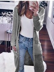 Women's long-sleeved solid color cardigan casual knitted sweater jacket