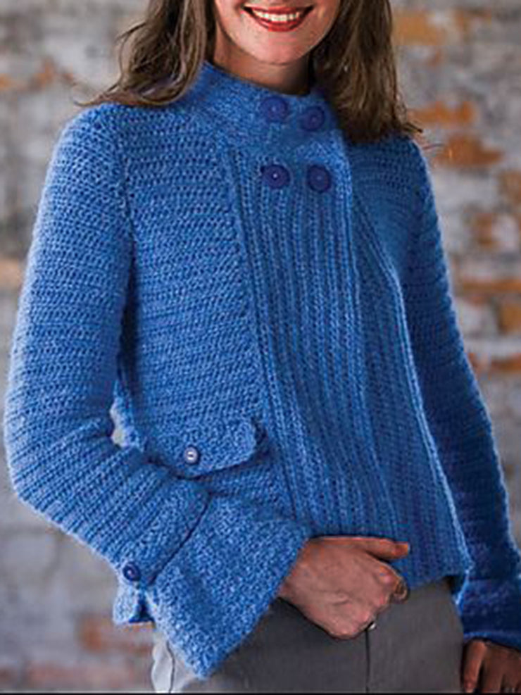 Women Blue Sweater Button Closure Solid Retro Cardigans