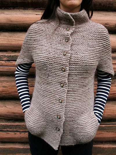 Women Pockets Button Closure Knitted Cardigans