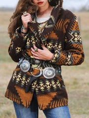 Ladies Yellowstone Print Woolen Jacket