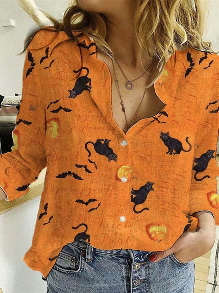 Women's Haunted Night from Wilmington Cat Blouse Shirt