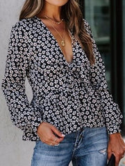 Women's V Neck Long Sleeve Floral Printed Well-Fitting Shirt