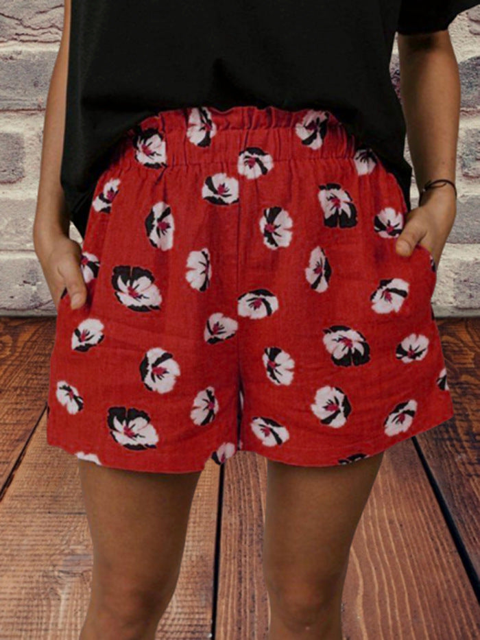 Women Floral Pockets Elastic Waist Casual Shorts