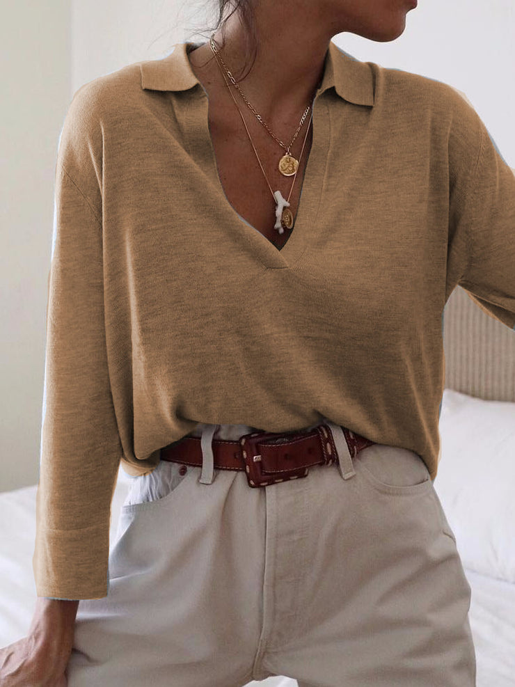 Women's V Neck Long Sleeve Solid Color Plus Size Casual Pullover Sweater