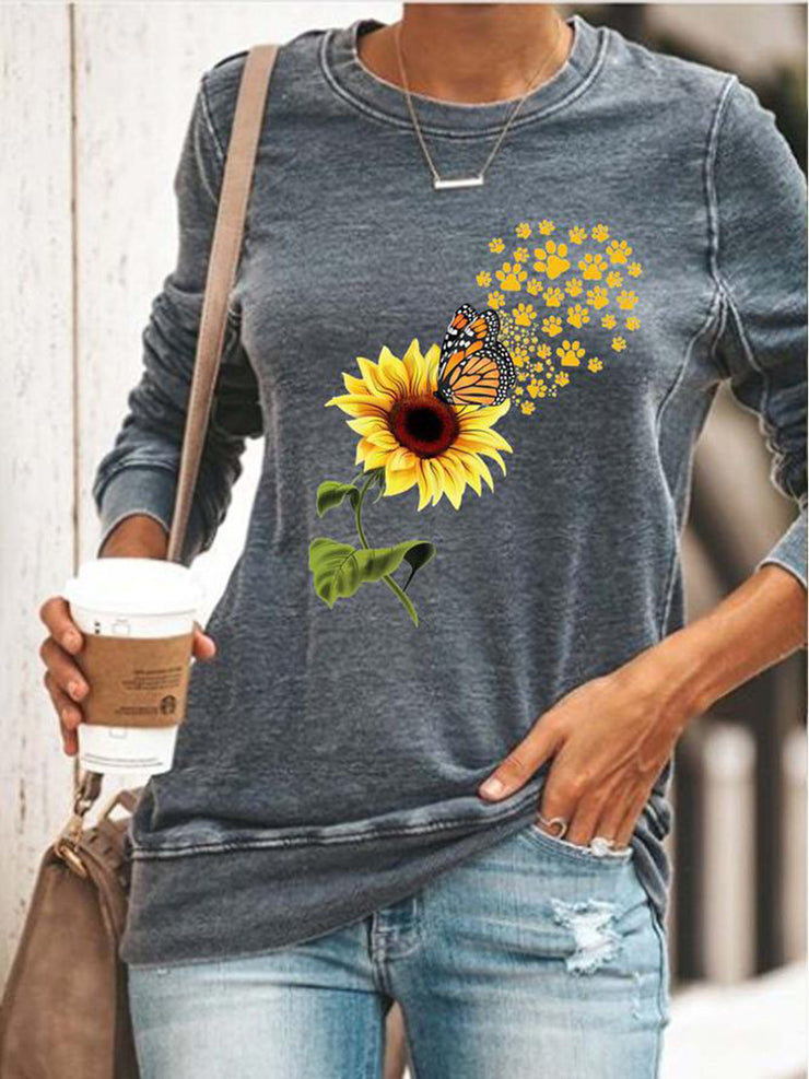 Women's round neck sunflower print long sleeve T-shirt