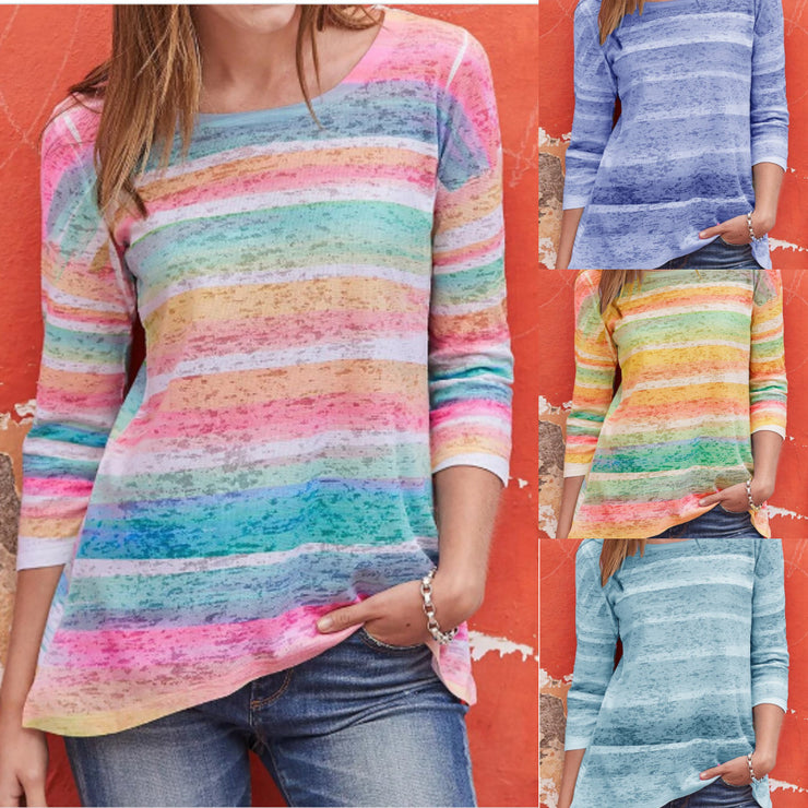 Women Striped Color Block Long Sleeves Fall Tops