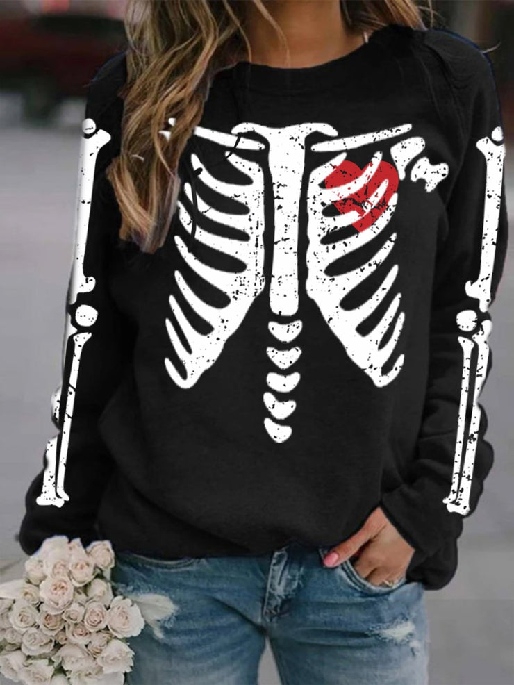 Women's Halloween Skull Love Print Sweatshirt