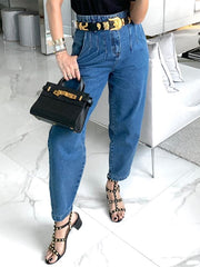 Solid Pockets Pleated Women Denim Pants