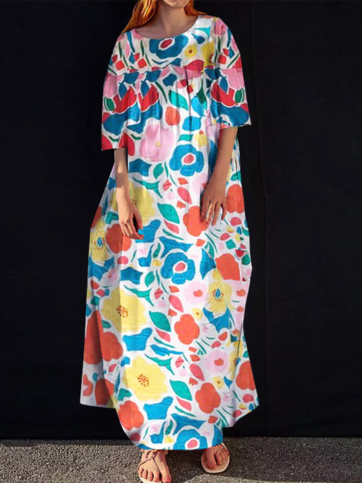 Women'S Color Flowers Print Long Loose Dress Dress