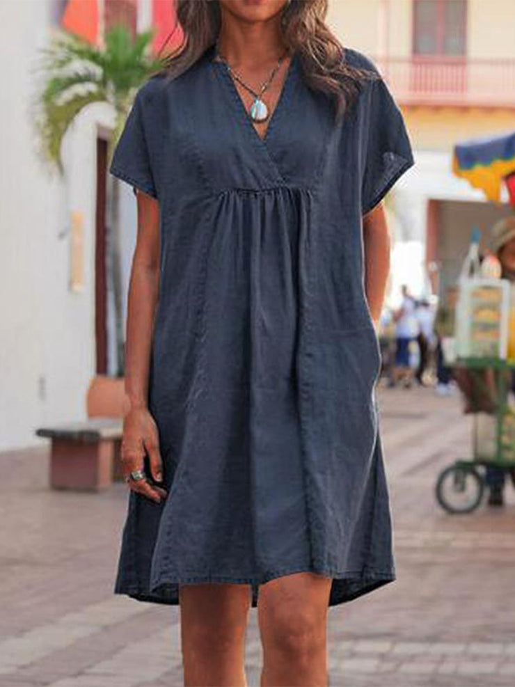 Women'S Casual V Neck Solid Linen Dresses