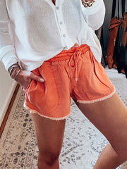 Solid Pockets Women's Elastic Waist Shorts