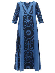 Women'S V-Neck Flower  Printed Maxi Dress