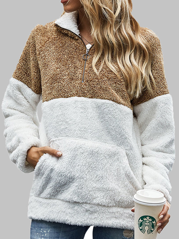 Women's leopard stitching pullover sweater