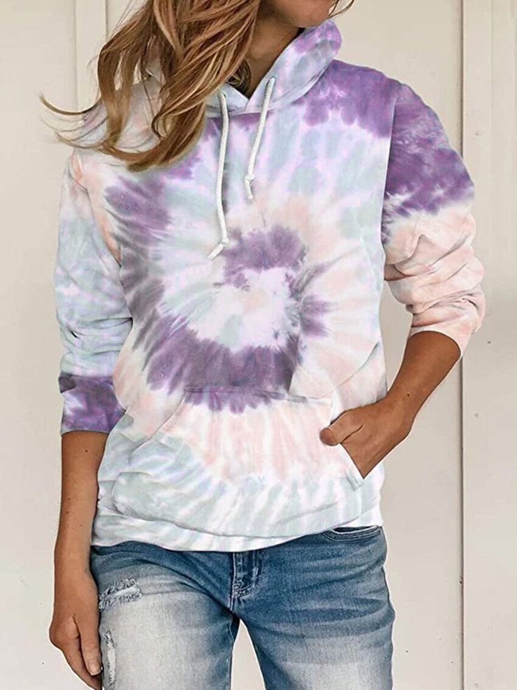 Women's loose tie-dye printed hooded long-sleeved sweater