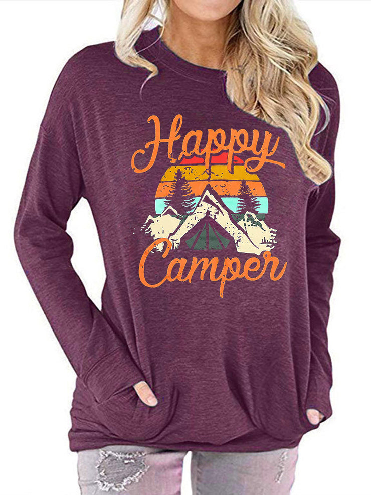 Happy Camper printed round neck long-sleeved t-shirt sweater pocket