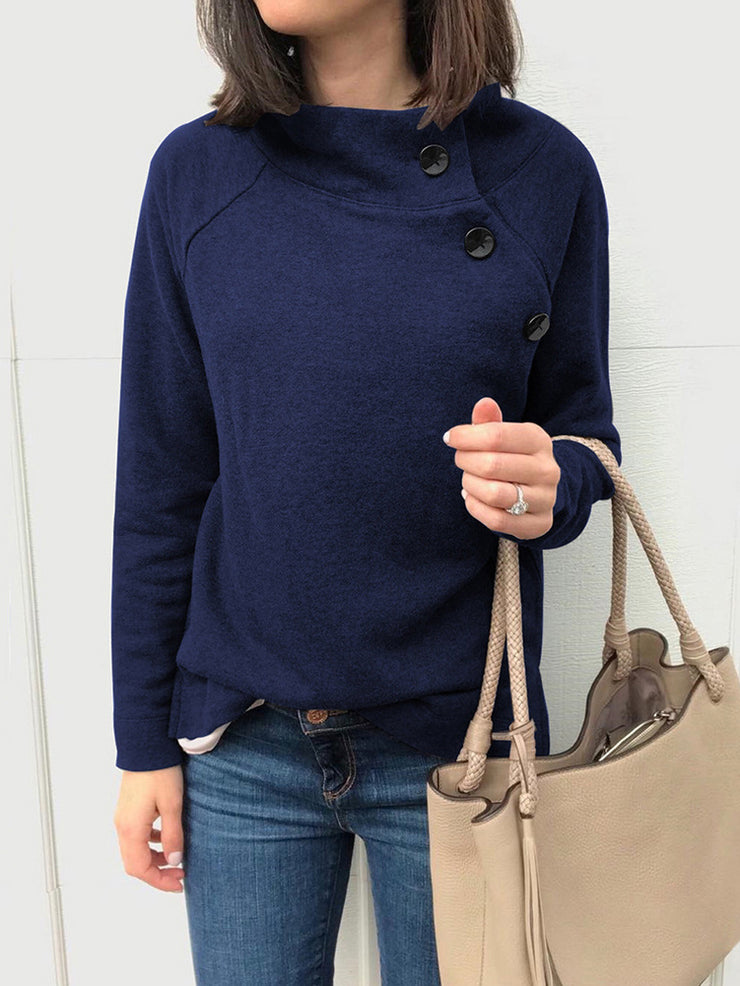 Round neck long-sleeved blouses buttons sweater