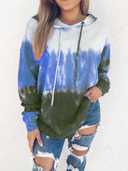 Rainbow gradient color printing hooded long-sleeved sweater