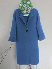 Women Coat Plus Size Solid Buttoned Knitted Cardigans