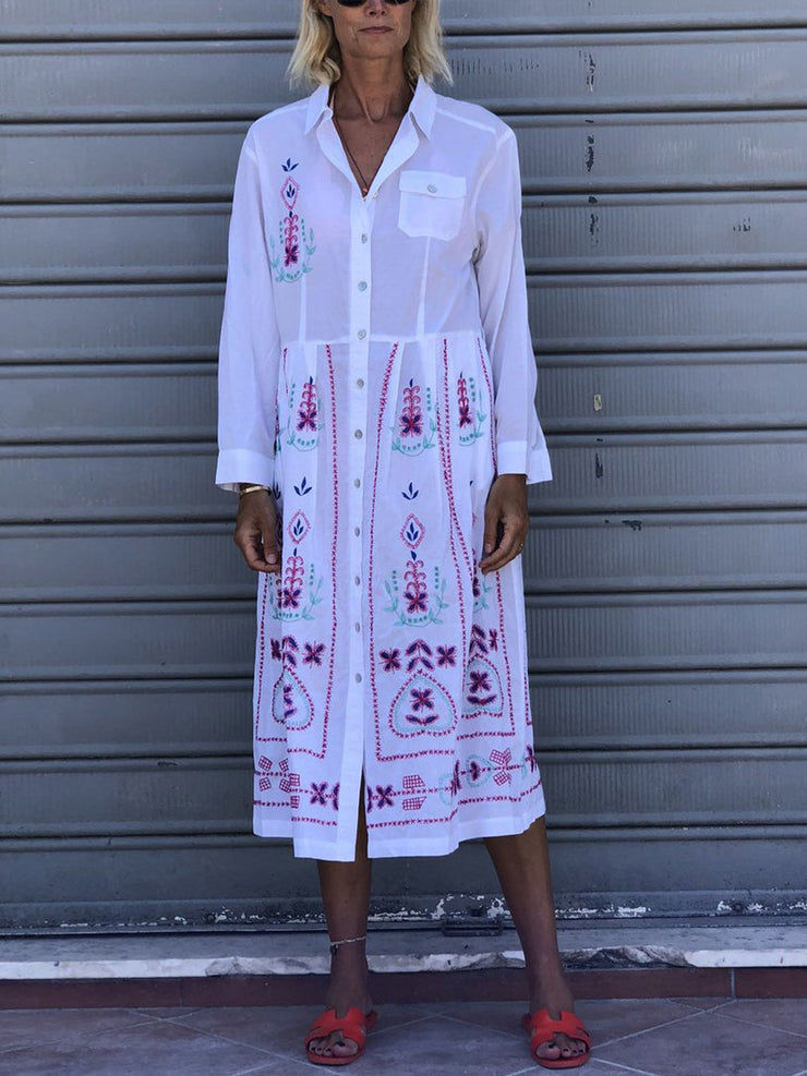 Women'S  Printed  Long sleeve shirt Dress