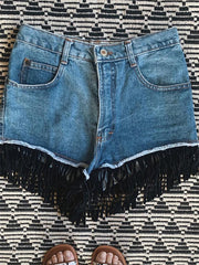 Fringed Washed Old Women Denim Shorts