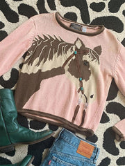 Horse Vintage Long Sleeve Women Knitted Tops