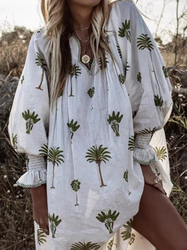 Women Printed Casual Loose Long Sleeve Dress
