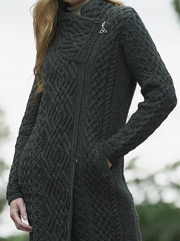 Solid Jacquard Zipper Women Knitted Cardigans