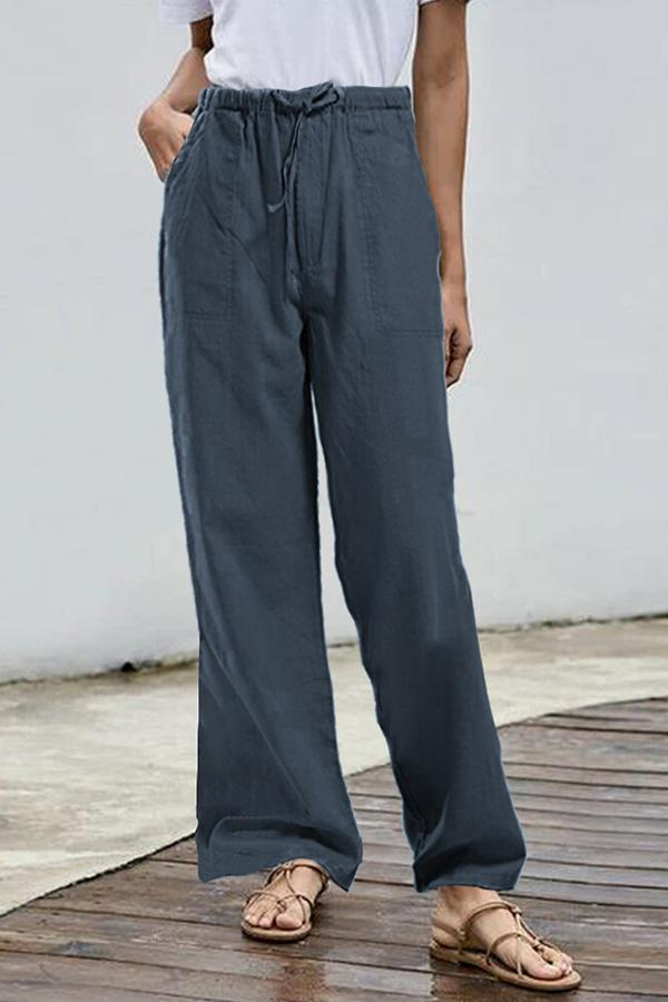 Solid Paneled Side Pockets Self-tie Casual Wide Leg Pants