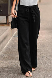 Casual Solid Paneled Self-tie Long Pants