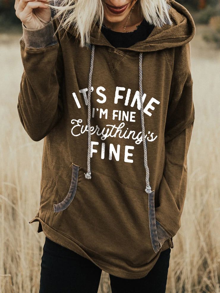 Women's I'm Fine Print Long Sleeve Hooded Sweatshirt