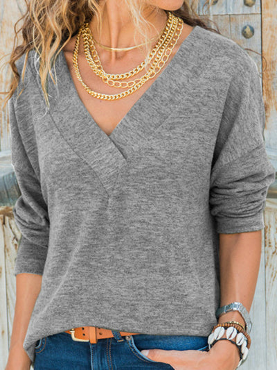 Women Long Sleeves V-Neck Solid Casual Fall Tops