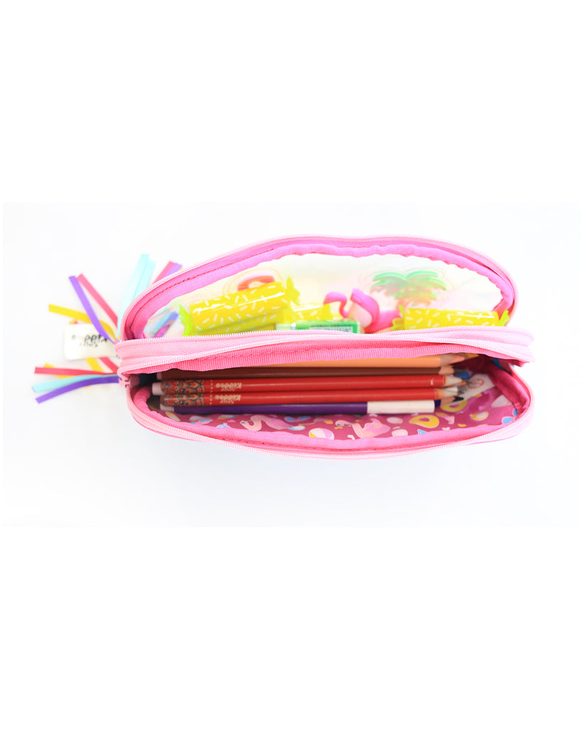Fancy Transparent Pencil Case Light Blue