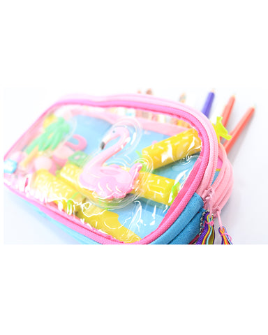 Image of Fancy Transparent Pencil Case Light Blue