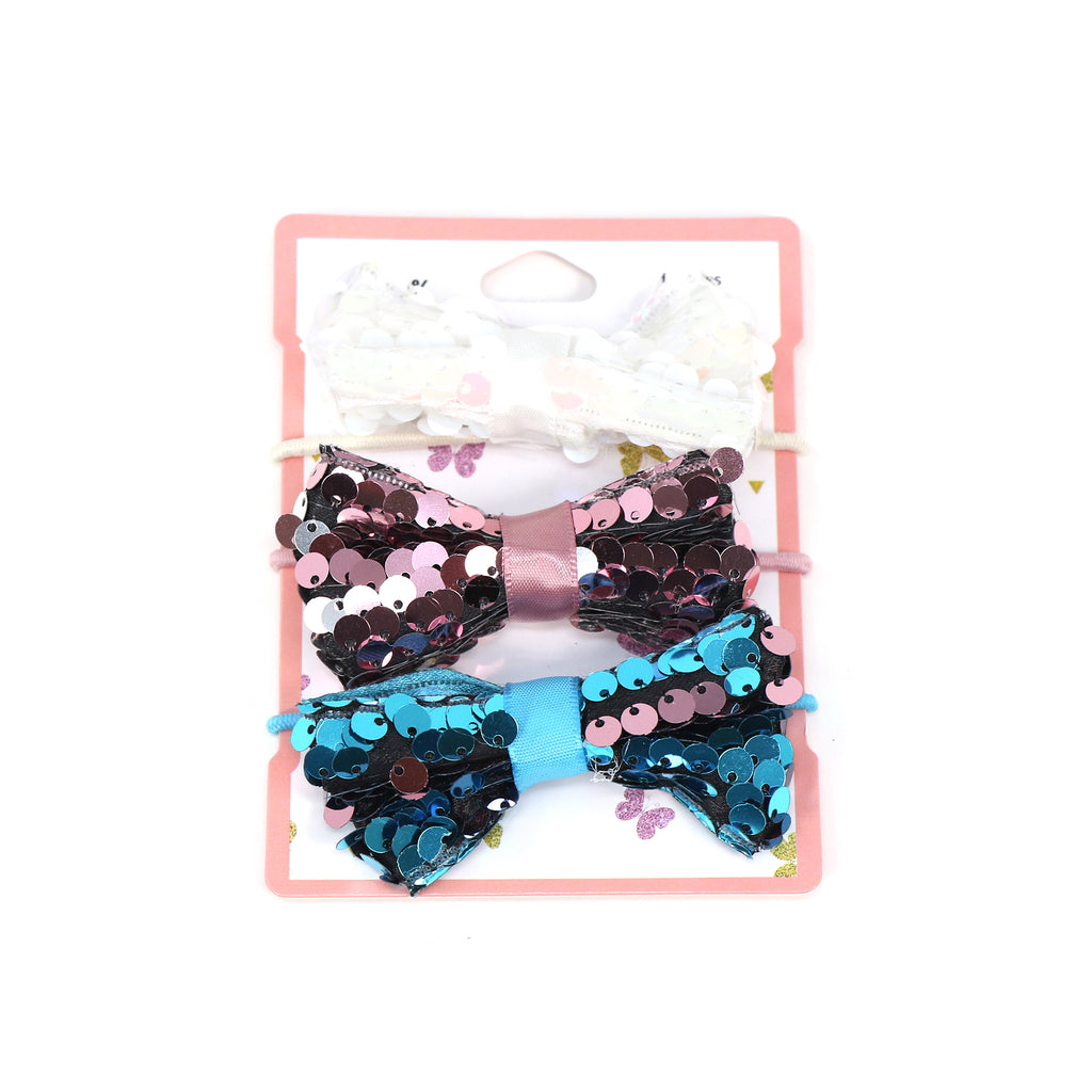 Sequine Bow Hair Clip Set