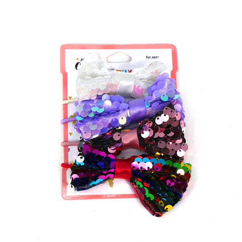 Image of Multicolor Sequine Bow Hair Clip Set