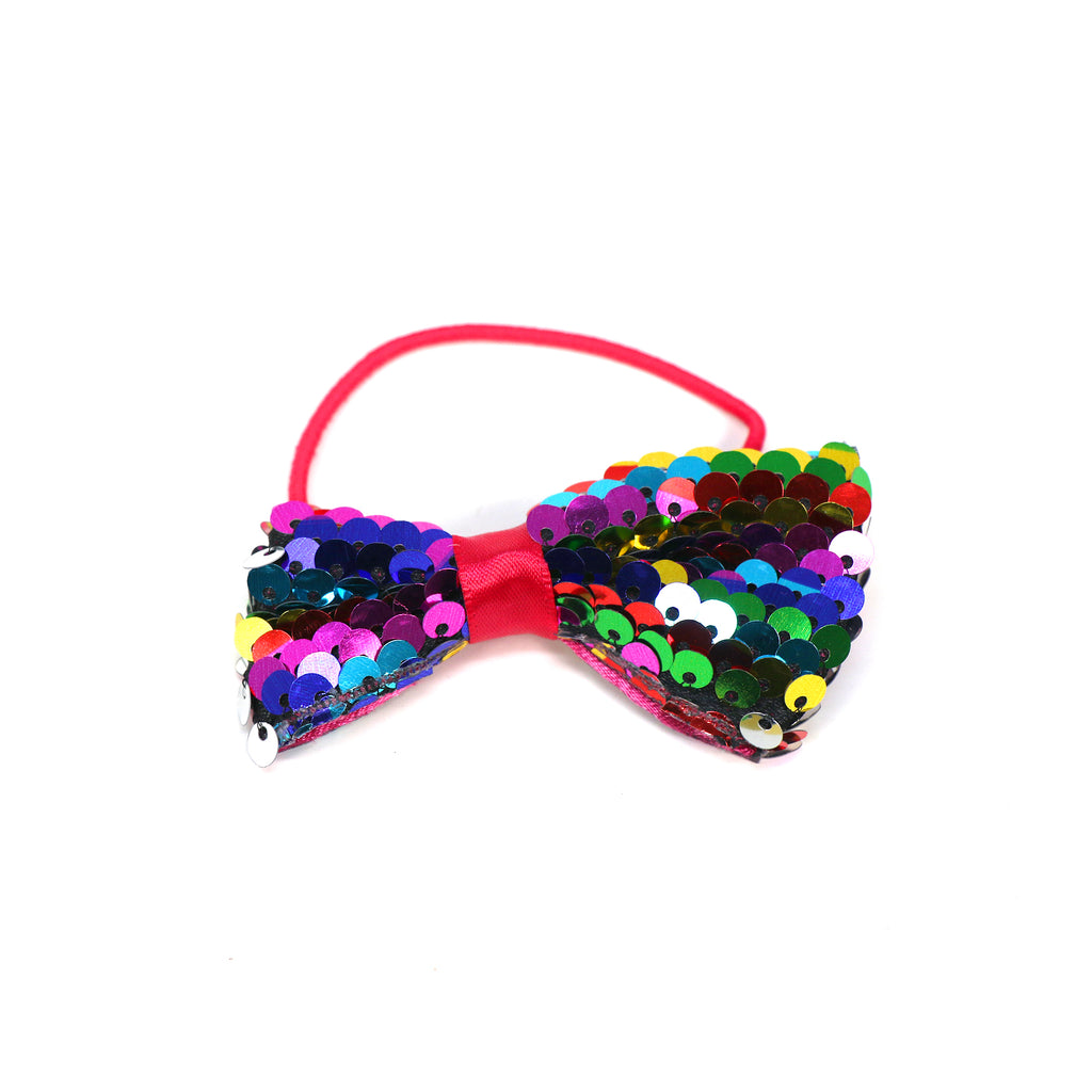 Multicolor Sequine Bow Hair Clip Set