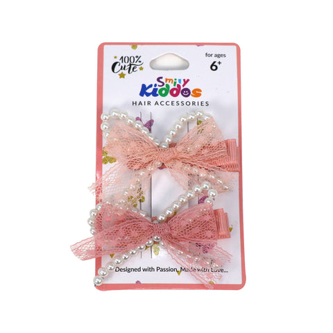 Image of Pearl Bow Hair Clip Set