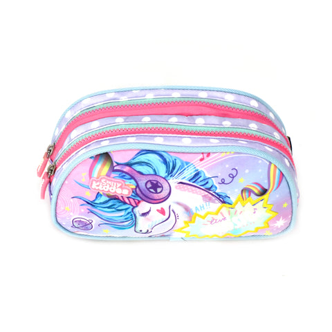 Musical Unicorn Double Compartment Pencil Pouch