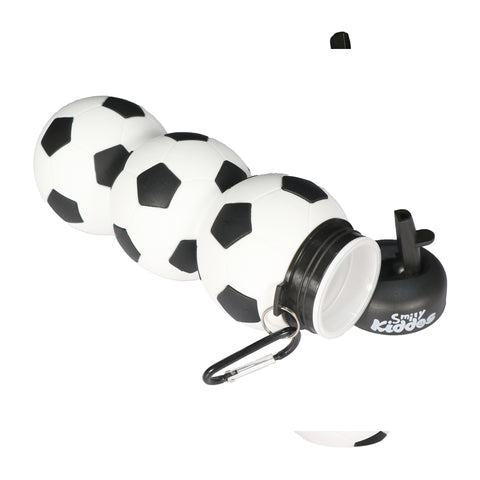Silicone Football Water Bottle Black & White