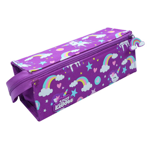Image of Smily Tray Pencil Case Rainbow Unicorn Theme Purple