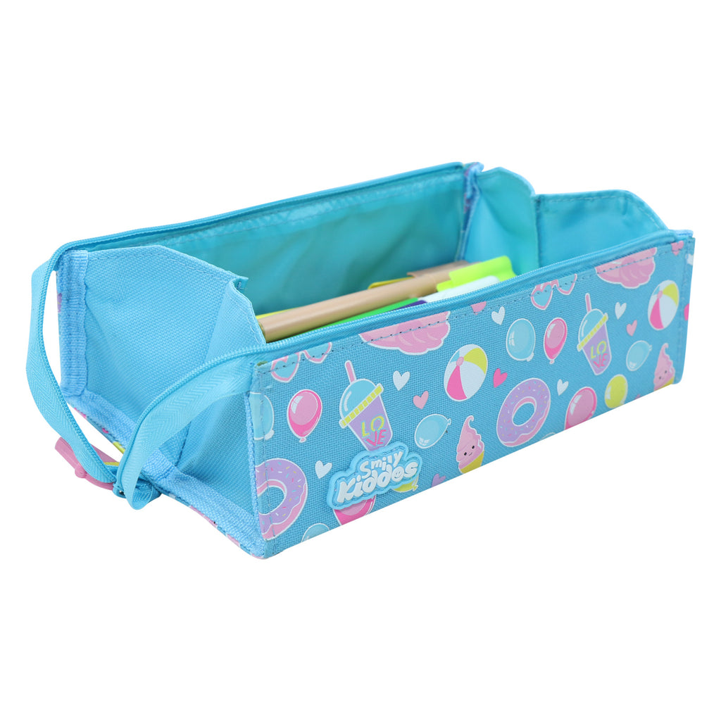 Smily Tray Pencil Case Swan Theme Light Blue