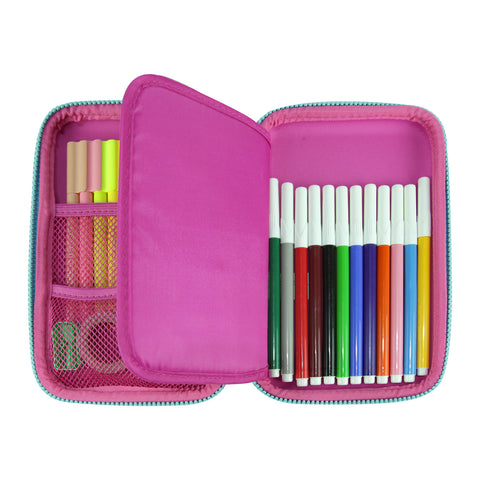Smily Single Compartment Pencil Case Pink