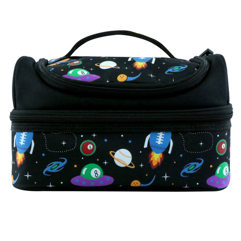 Image of Smily Dual Slot Lunch Bag Space Theme Black